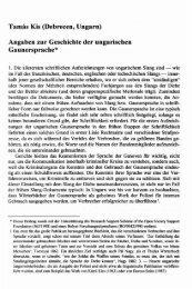 Angaben zur Geschichte der ungarischen Gaunersprache