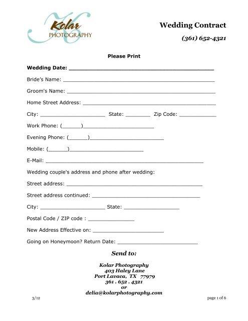 Wedding Photography Contract Pdf: Kolar Photography Wedding Contract