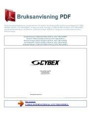 Instruktionsbok CYBEX INTERNATIONAL 425T TREADMILL