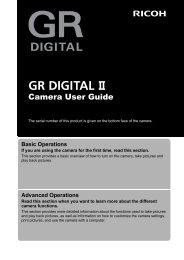 GR DIGITAL II Camera User Guide