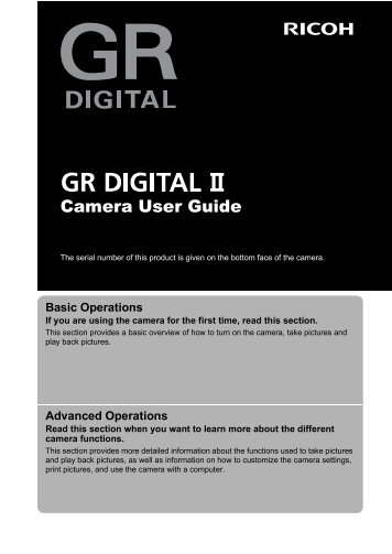 GR DIGITAL II Camera User Guide