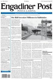 Die RhB investiert Millionen in Südbünden - Engadiner Post