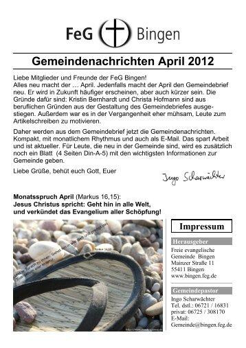 Gemeindenachrichten April 2012 - FeG Bingen