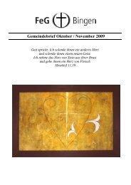 Gemeindebrief Oktober / November 2009 - FeG Bingen