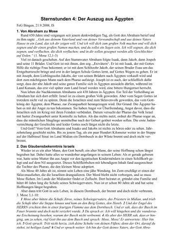 Sternstunden 4: Der Auszug aus Ägypten - FeG Bingen