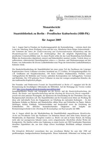 August 2005 - Staatsbibliothek zu Berlin