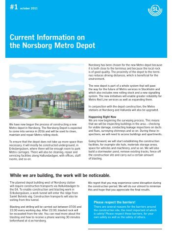 Current Information on the Norsborg Metro Depot #1 october 2011 - SL