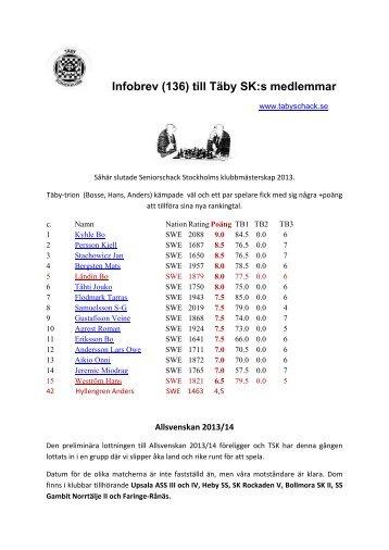 Infobrev (136) till Täby SK:s medlemmar - Glocalnet
