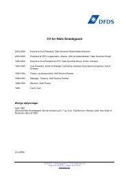 CV for Niels Smedegaard - DFDS.com