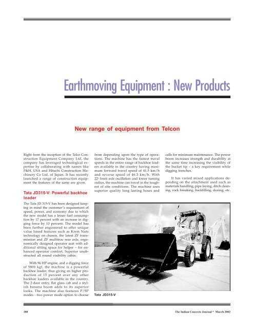 Earthmoving Equipment : New Products - The Indian Concrete Journal