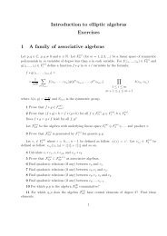 Introduction to elliptic algebras Exercises 1 A family of associative ...