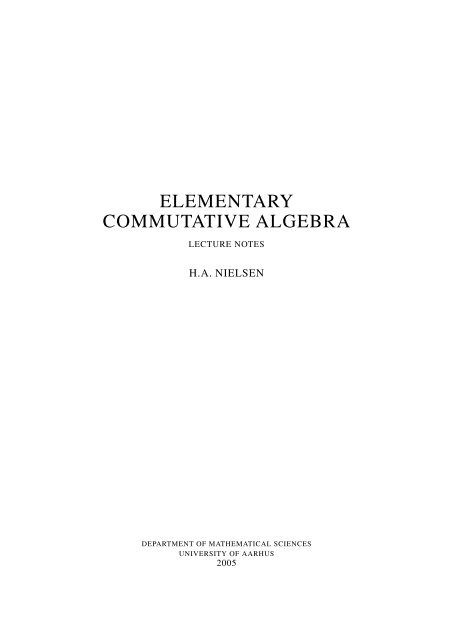Commutative algebra - Department of Mathematical Sciences - old ...