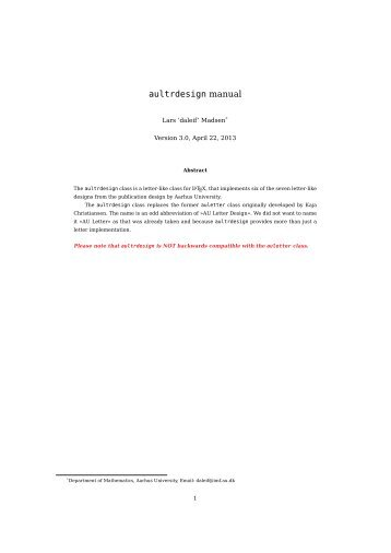 aultrdesign manual - Department of Mathematical Sciences - old ...