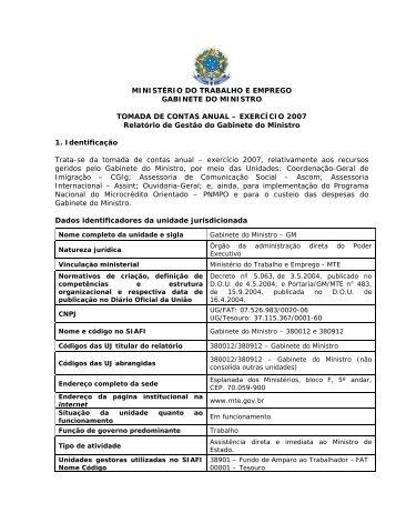 1) Relatório de Atividade de Gestão/2007 - Marca do Governo ...