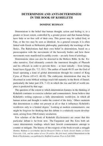 determinism and anti-determinism in the book of koheleth