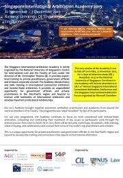 Singapore International Arbitration Academy 2013 - Centre for ...
