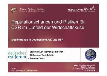 Reputationschancen und Risiken für CSR im Umfeld der ...