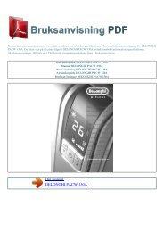 Instruktionsbok DELONGHI PACW 130A - BRUKSANVISNING PDF