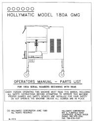 OOOOOO HOLLYMATIC MODEL 180A GMG - Berkel Sales & Service