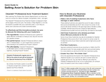 Selling Avon's Solution for Problem Skin - Avon the beauty of ...