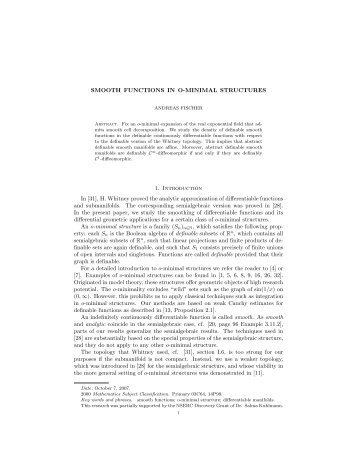 SMOOTH FUNCTIONS IN O-MINIMAL STRUCTURES 1 ...