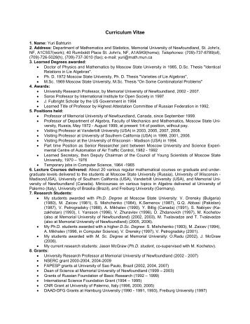Curriculum Vitae - Department of Mathematics and Statistics