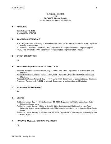 CURRICULUM VITAE - Department of Mathematics and Statistics ...