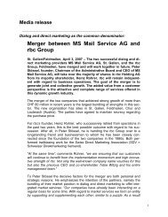 Merger between MS Mail Service AG and rbc Group