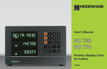 User's Manual ND 730, ND 770 - heidenhain - DR. JOHANNES ...