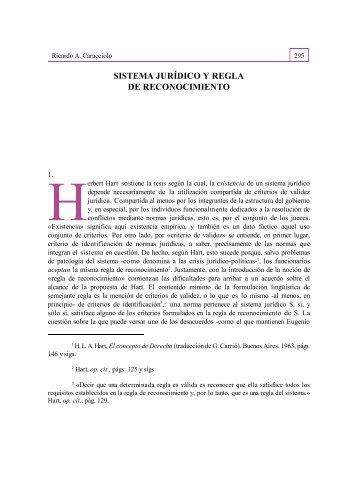SISTEMA JURÍDICO Y REGLA DE RECONOCIMIENTO - RUA