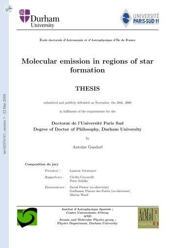 Emission moleculaire dans les regions de formation stellaire