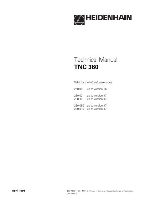 Technical Manual TNC 360 - heidenhain - DR  JOHANNES