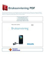 Instruktionsbok PHILIPS SA9100 - BRUKSANVISNING PDF