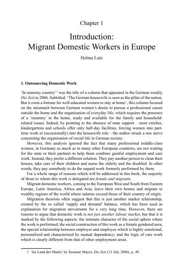 Introduction: Migrant Domestic Workers in Europe