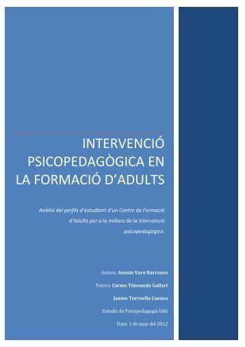 intervenció psicopedagògica en la formació d'adults - D U G i docs ...