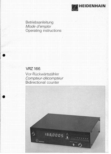 VRZ 166 - heidenhain - DR. JOHANNES HEIDENHAIN GmbH