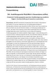 Pressemitteilung DAI - Ausbildungscenter Rhein/Main in ...