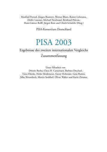 Zusammenfassung der Ergebnisse zu PISA 2003 - Gaebler Info und ...