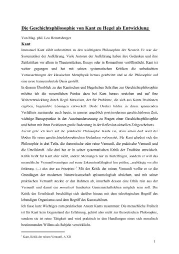 Die Geschichtsphilosophie von Kant zu Hegel, eine Entwicklung