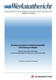 Evaluierung aktiver Arbeitsmarktpolitik und Datengrundlagen - IAB
