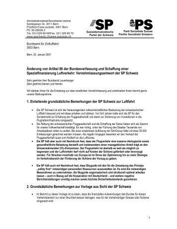 Änderung von Artikel 86 der Bundesverfassung und ... - SP Schweiz
