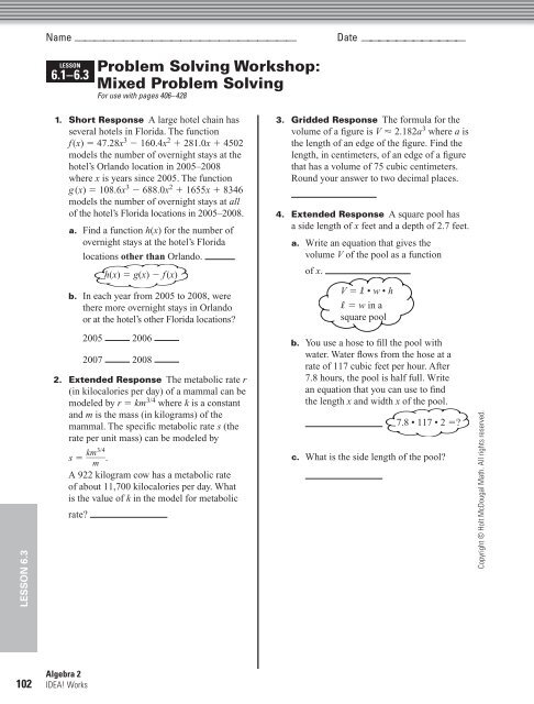 lesson 6.1-6.3 problem solving workshop mixed problem solving answers