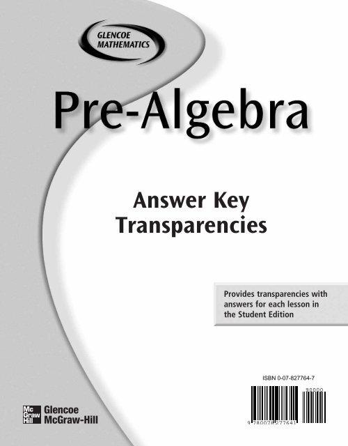 Answer Key Transparencies MathnMind