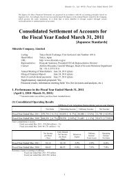 Consolidated Settlement of Accounts for the Fiscal Year Ended ...