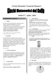 """Circolo Matematici """"Leonardo Fibonacci """" Finale 17 – Aprile - 2010"""