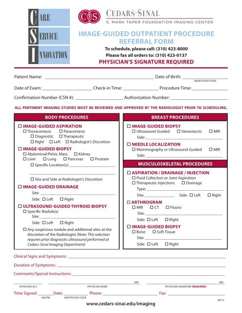 image-guided outpatient procedure referral form - Cedars-Sinai