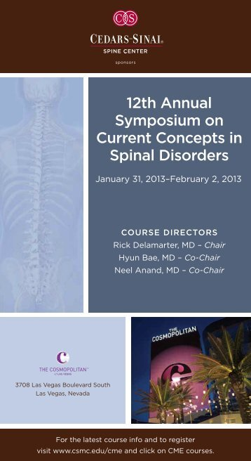 12th annual symposium on current concepts in spinal ... - Cedars-Sinai