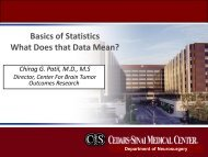 Basics of Statistics What Does that Data Mean? - Cedars-Sinai