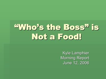 ?Who's the Boss is Not a Food!?
