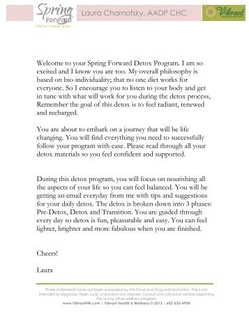 Welcome Letter & Important Info - Integrative Nutrition Health Coach ...